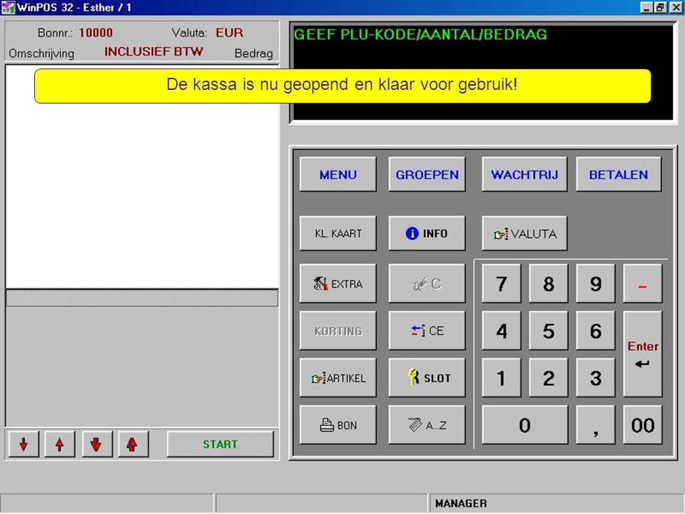 Kort samengevat – Je start het programma WinPOS; – Vervolgens vul je je inlogcode in en je klikt op de [Enter]-toets; – Daarna vul je het nummer in van je geldlade en je klikt weer op de [Enter]-toets; – De kassa is dan klaar voor gebruik.
