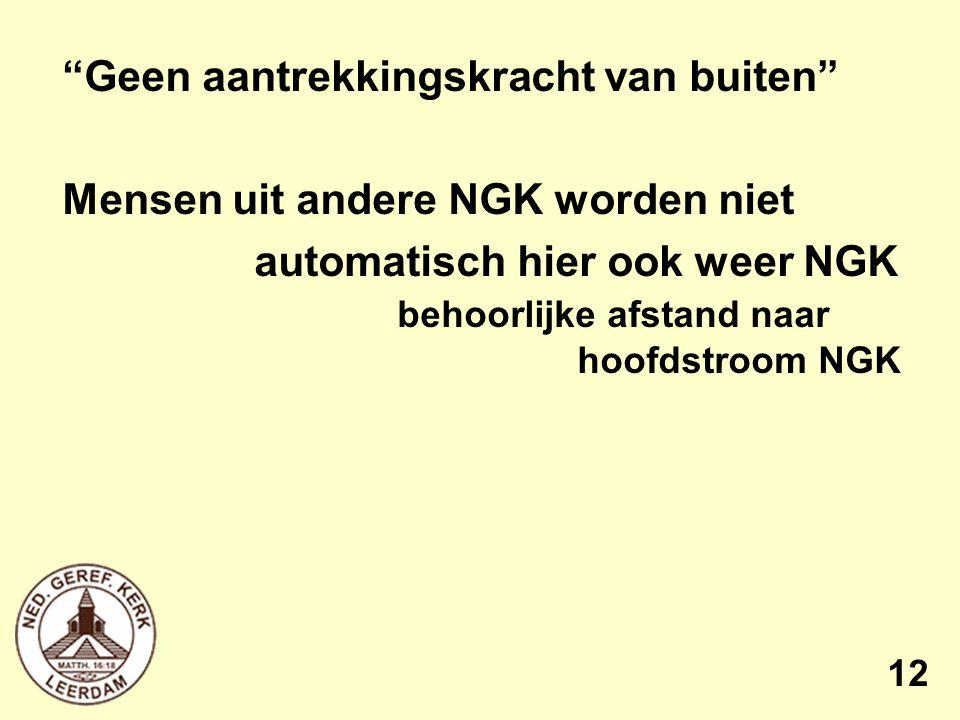 Geen aantrekkingskracht van buiten Mensen uit andere NGK worden niet automatisch hier ook weer NGK behoorlijke afstand naar hoofdstroom NGK 12