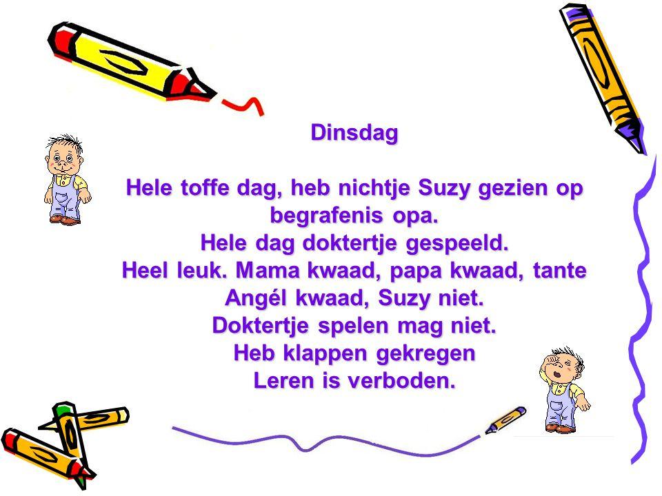 Maandag Sinterklaas gaan halen bij oma en opa. Alleen knikkers gekregen. Stom speelgoed. Heb knikkers op de keldertrap gelegd. opa naar beneden getuim