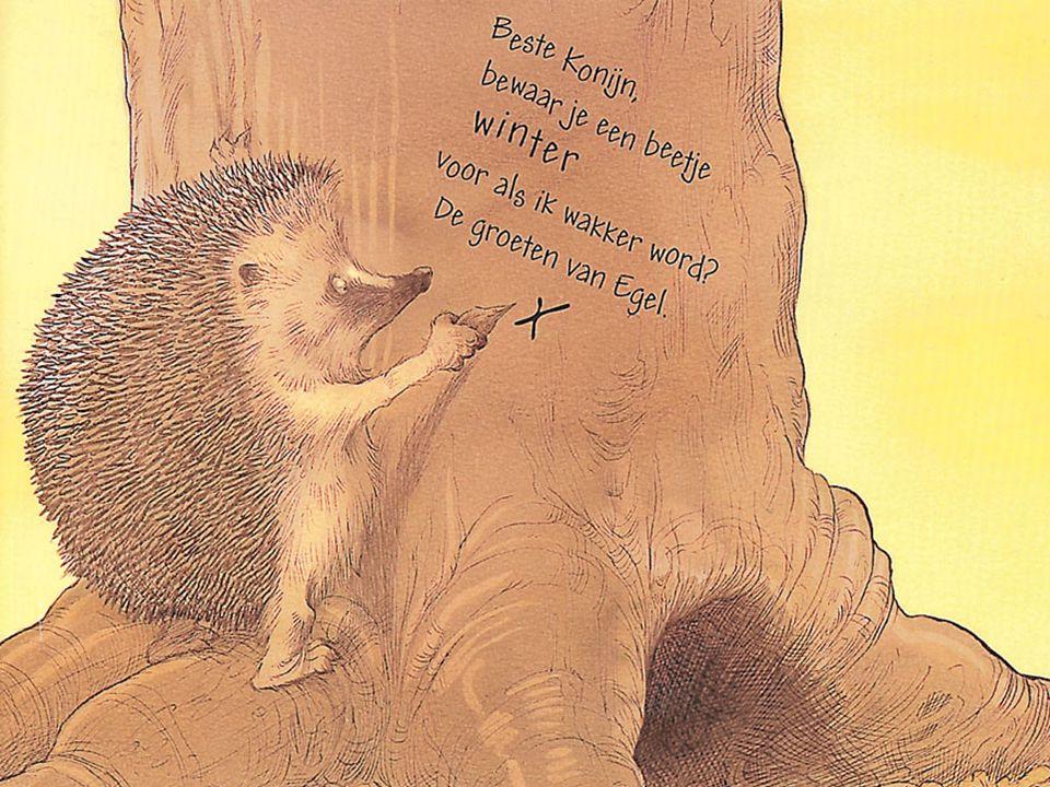 Egel raapt een scherpe steen op en liep naar een boom. Konijn at een polletje gras, knabbelde aan een paardebloem, snoepte van een bosje klaver. Egel