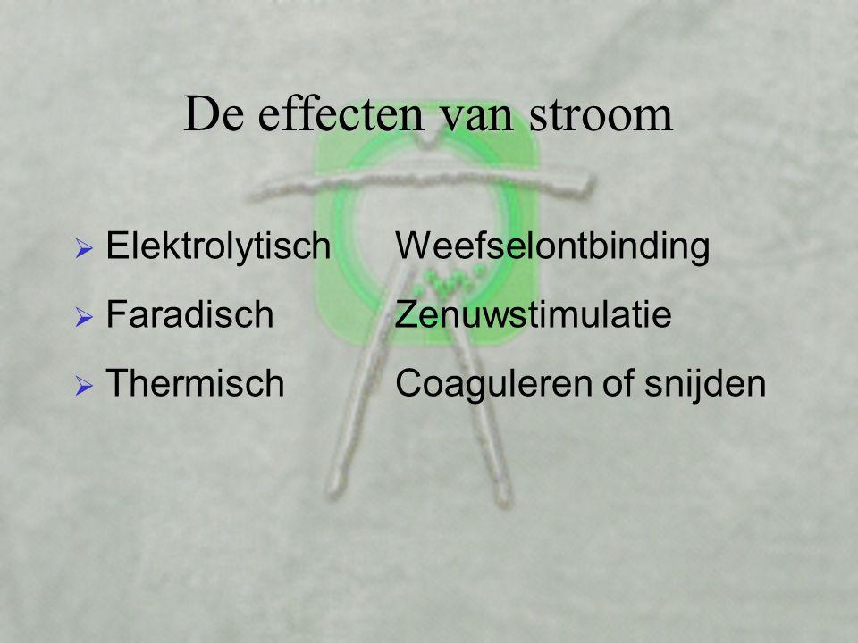 De effecten van stroom  Elektrolytisch  Faradisch  Thermisch Weefselontbinding Zenuwstimulatie Coaguleren of snijden