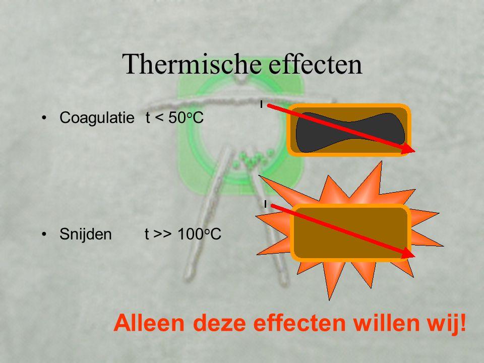 Thermische effecten •Coagulatie t < 50 o C •Snijden t >> 100 o C Alleen deze effecten willen wij!