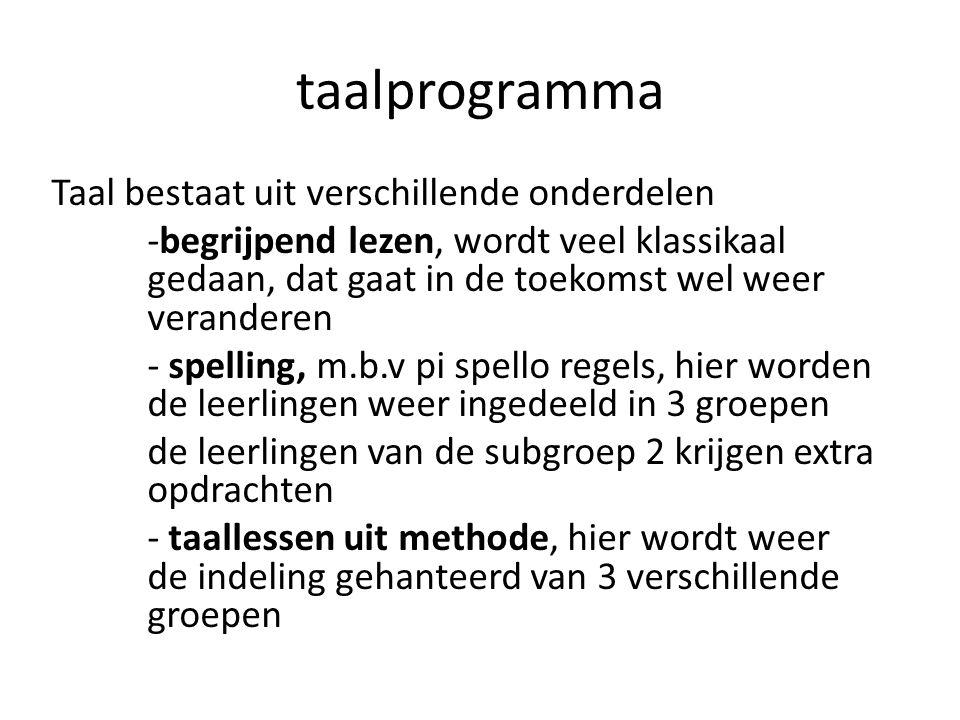 taalprogramma Taal bestaat uit verschillende onderdelen -begrijpend lezen, wordt veel klassikaal gedaan, dat gaat in de toekomst wel weer veranderen -