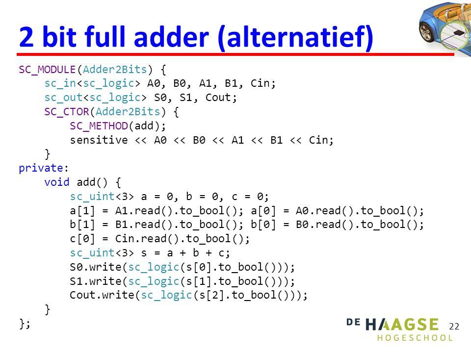  De 2 bit full adder opgebouwd met twee 1 bit full adders noemen we een structural model.