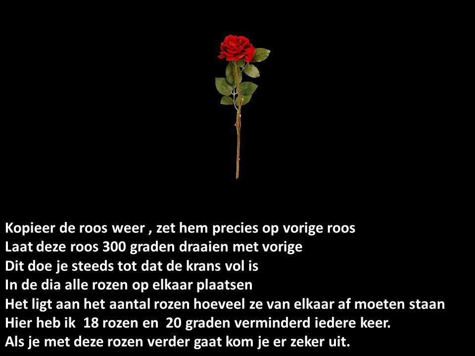 Kopieer de roos weer, zet hem precies op vorige roos Laat deze roos 300 graden draaien met vorige Dit doe je steeds tot dat de krans vol is In de dia