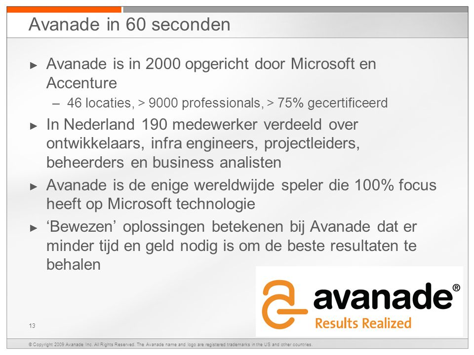 © Copyright 2009 Avanade Inc. All Rights Reserved.