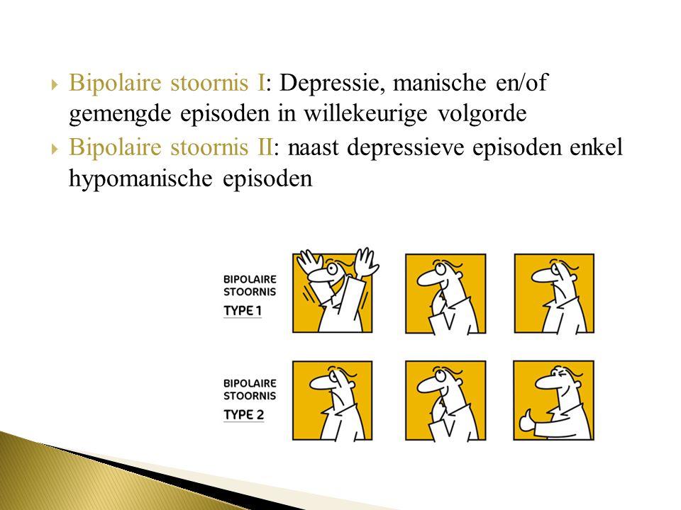 Bipolaire stoornis I: Depressie, manische en/of gemengde episoden in willekeurige volgorde  Bipolaire stoornis II: naast depressieve episoden enkel