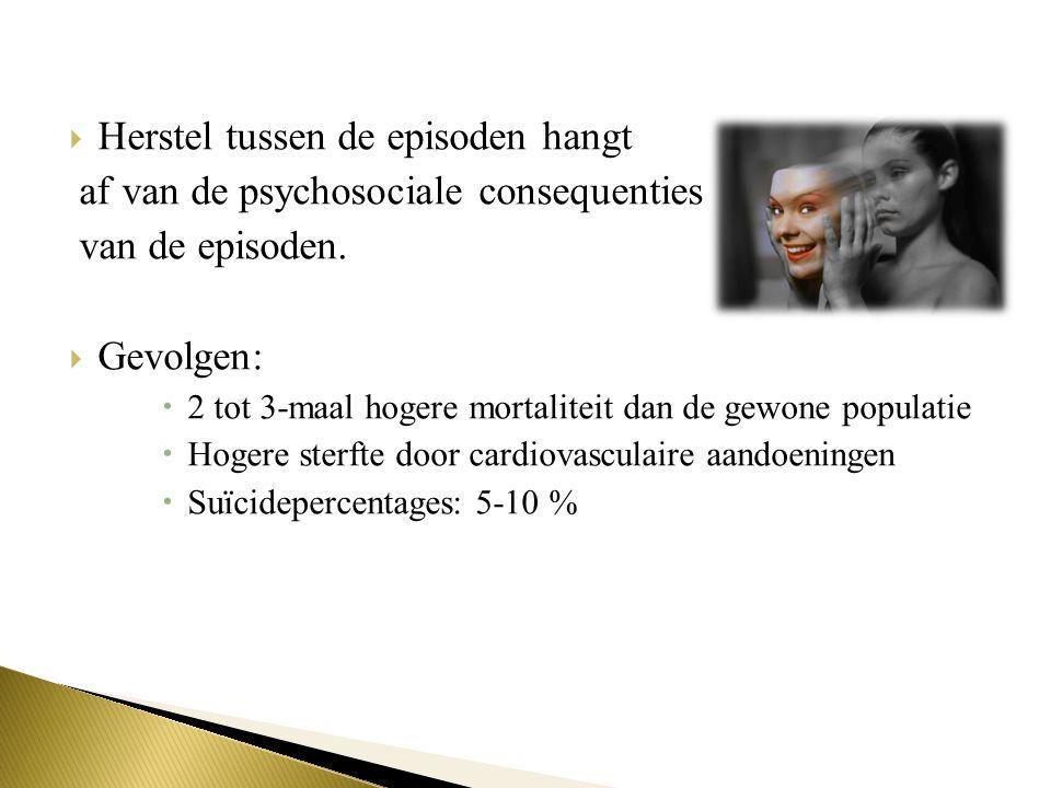  Herstel tussen de episoden hangt af van de psychosociale consequenties van de episoden.  Gevolgen:  2 tot 3-maal hogere mortaliteit dan de gewone