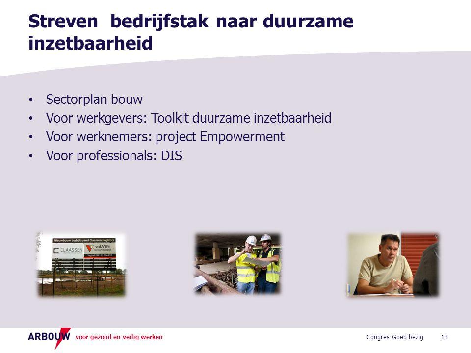 voor gezond en veilig werken • Sectorplan bouw • Voor werkgevers: Toolkit duurzame inzetbaarheid • Voor werknemers: project Empowerment • Voor profess