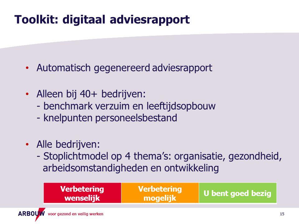 voor gezond en veilig werken 15 Toolkit: digitaal adviesrapport • Automatisch gegenereerd adviesrapport • Alleen bij 40+ bedrijven: - benchmark verzui