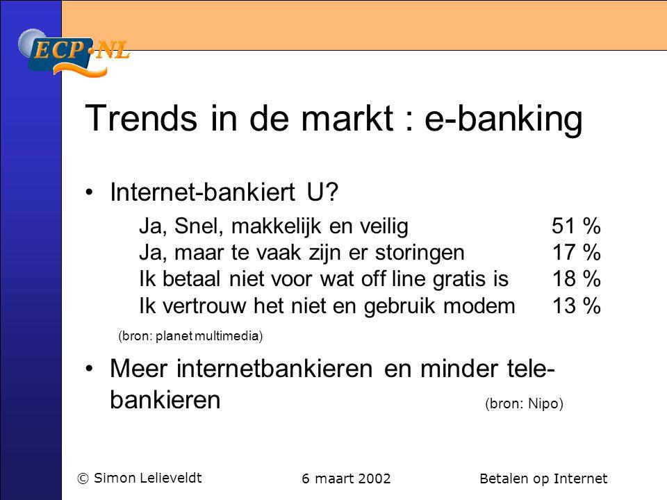 6 maart 2002 Betalen op Internet© Simon Lelieveldt Trends in de markt : e-banking •Internet-bankiert U? Ja, Snel, makkelijk en veilig 51 % Ja, maar te