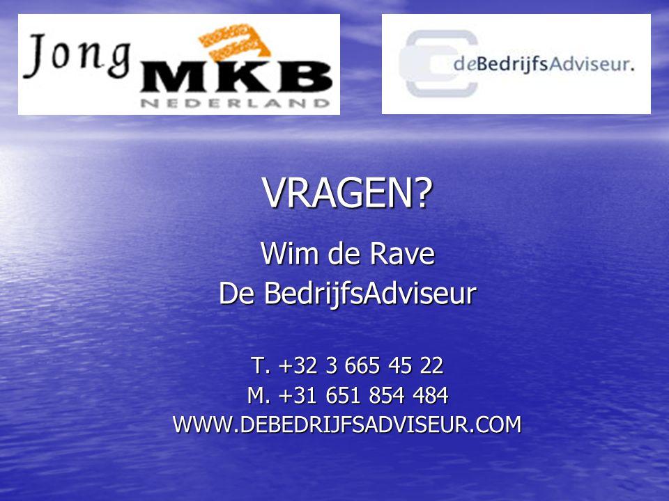 VRAGEN. Wim de Rave De BedrijfsAdviseur T. +32 3 665 45 22 M.