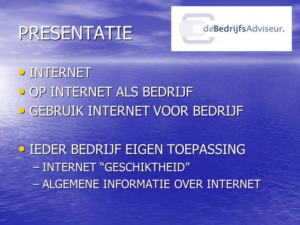INTERNET • COMPUTERNETWERK –TRANSMISSION CONTROL PROTOCOL, TCP/IP –INTERNET SERVICES PROVIDER/HOSTING –IP ADRES 255.255.1.168 –DOMEINNAAM • INTERCONNECTED NETWORKS