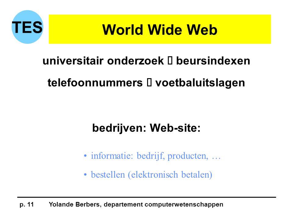 p. 11Yolande Berbers, departement computerwetenschappen TES World Wide Web universitair onderzoek  beursindexen telefoonnummers  voetbaluitslagen be