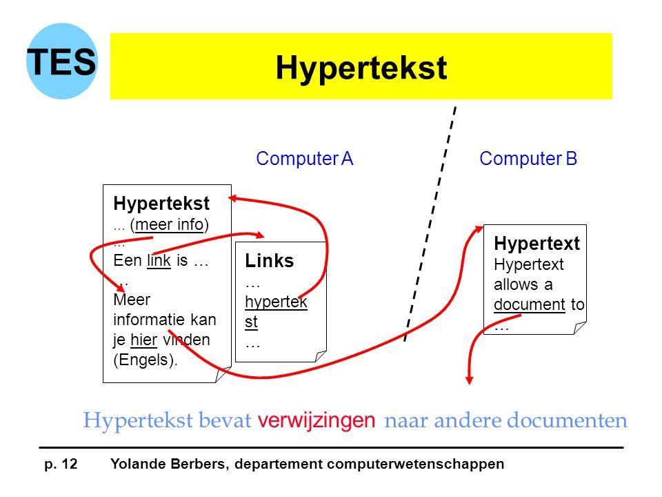 p. 12Yolande Berbers, departement computerwetenschappen TES Hypertekst … (meer info) … Een link is … … Meer informatie kan je hier vinden (Engels). Li