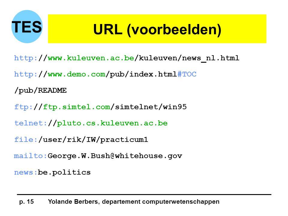 p. 15Yolande Berbers, departement computerwetenschappen TES URL (voorbeelden) http://www.kuleuven.ac.be/kuleuven/news_nl.html http://www.demo.com/pub/