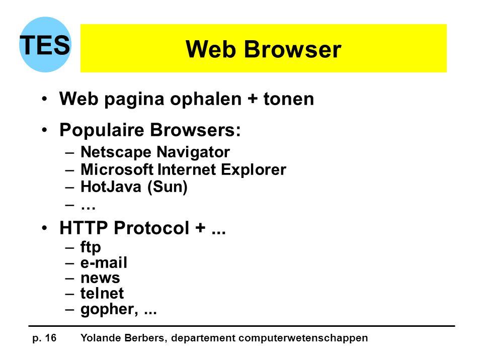 p. 16Yolande Berbers, departement computerwetenschappen TES Web Browser •Web pagina ophalen + tonen •Populaire Browsers: –Netscape Navigator –Microsof