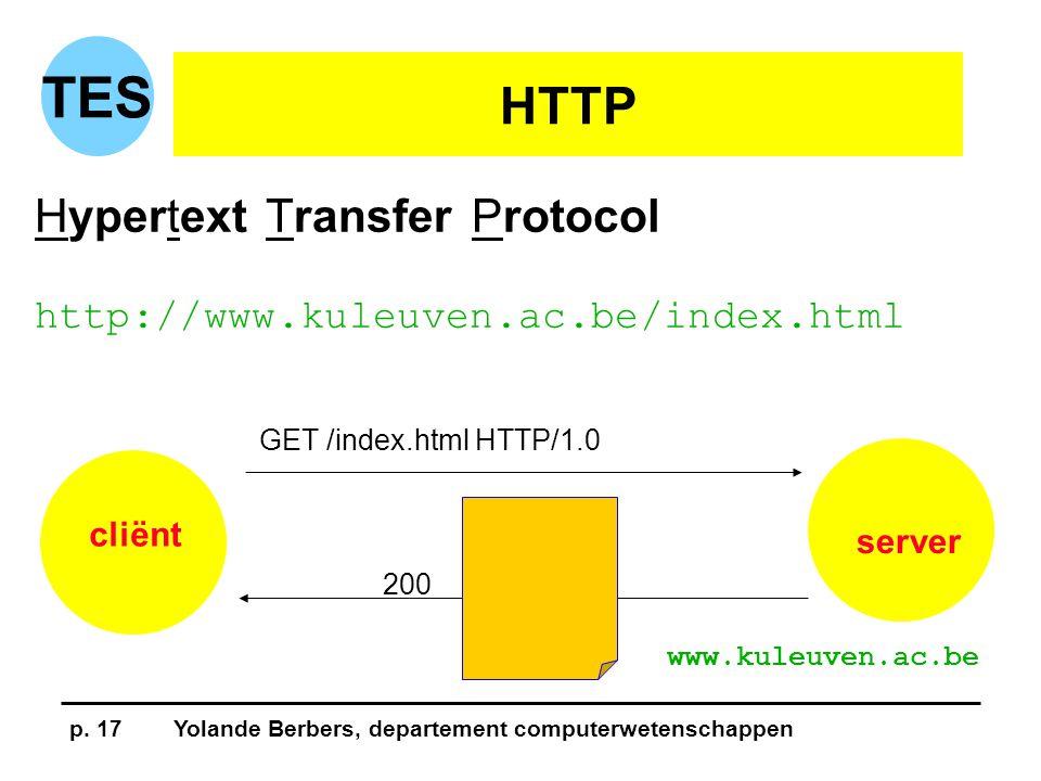 p. 17Yolande Berbers, departement computerwetenschappen TES HTTP Hypertext Transfer Protocol http://www.kuleuven.ac.be/index.html cliënt server GET /i