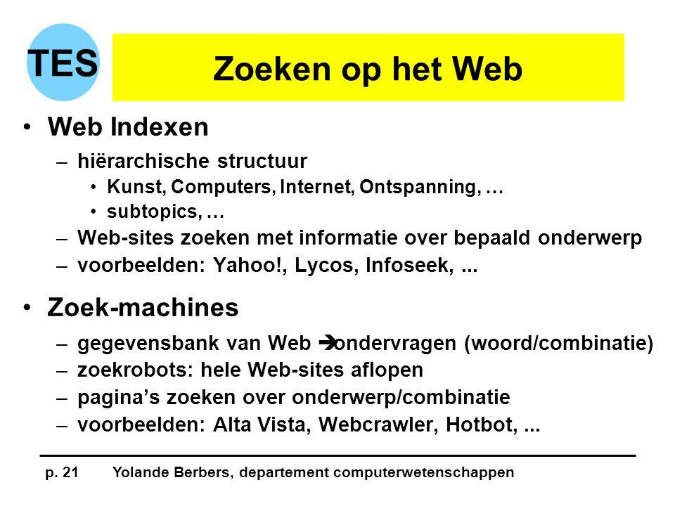 p. 21Yolande Berbers, departement computerwetenschappen TES Zoeken op het Web •Web Indexen –hiërarchische structuur •Kunst, Computers, Internet, Ontsp
