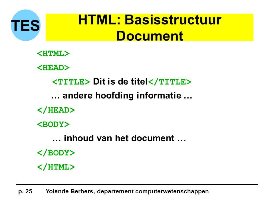 p. 25Yolande Berbers, departement computerwetenschappen TES HTML: Basisstructuur Document Dit is de titel … andere hoofding informatie … … inhoud van