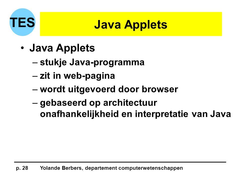 p. 28Yolande Berbers, departement computerwetenschappen TES Java Applets •Java Applets –stukje Java-programma –zit in web-pagina –wordt uitgevoerd doo