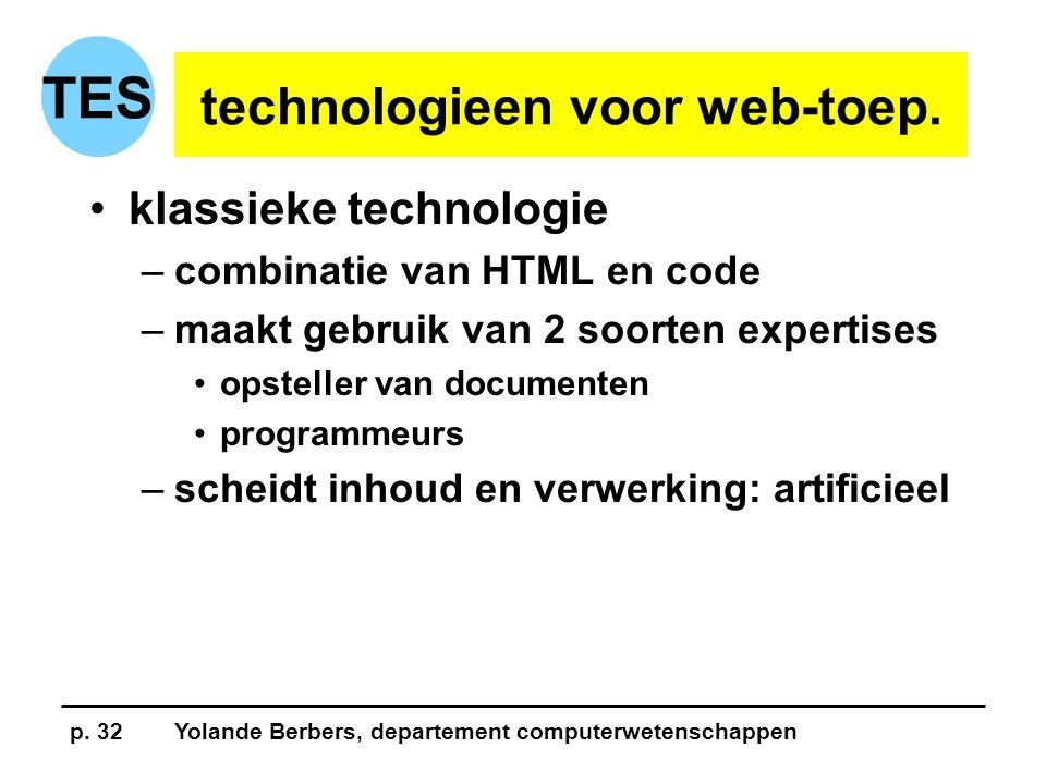 p. 32Yolande Berbers, departement computerwetenschappen TES technologieen voor web-toep.