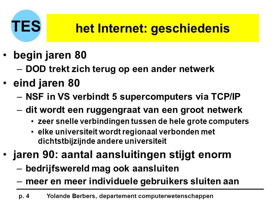 p. 4Yolande Berbers, departement computerwetenschappen TES het Internet: geschiedenis •begin jaren 80 –DOD trekt zich terug op een ander netwerk •eind