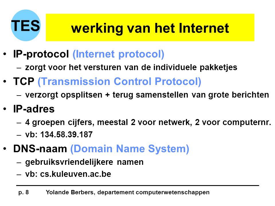 p. 8Yolande Berbers, departement computerwetenschappen TES werking van het Internet •IP-protocol (Internet protocol) –zorgt voor het versturen van de