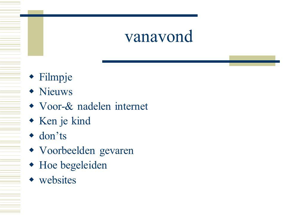 vanavond  Filmpje  Nieuws  Voor-& nadelen internet  Ken je kind  don'ts  Voorbeelden gevaren  Hoe begeleiden  websites