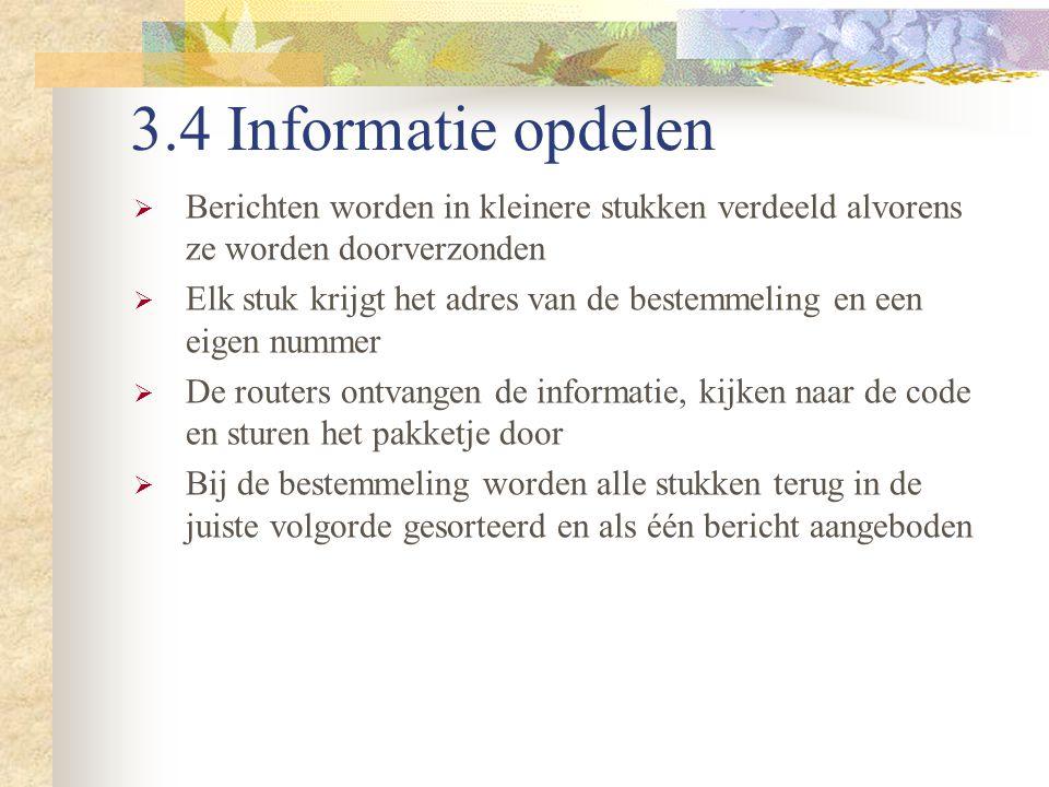 3.4 Informatie opdelen  Berichten worden in kleinere stukken verdeeld alvorens ze worden doorverzonden  Elk stuk krijgt het adres van de bestemmelin