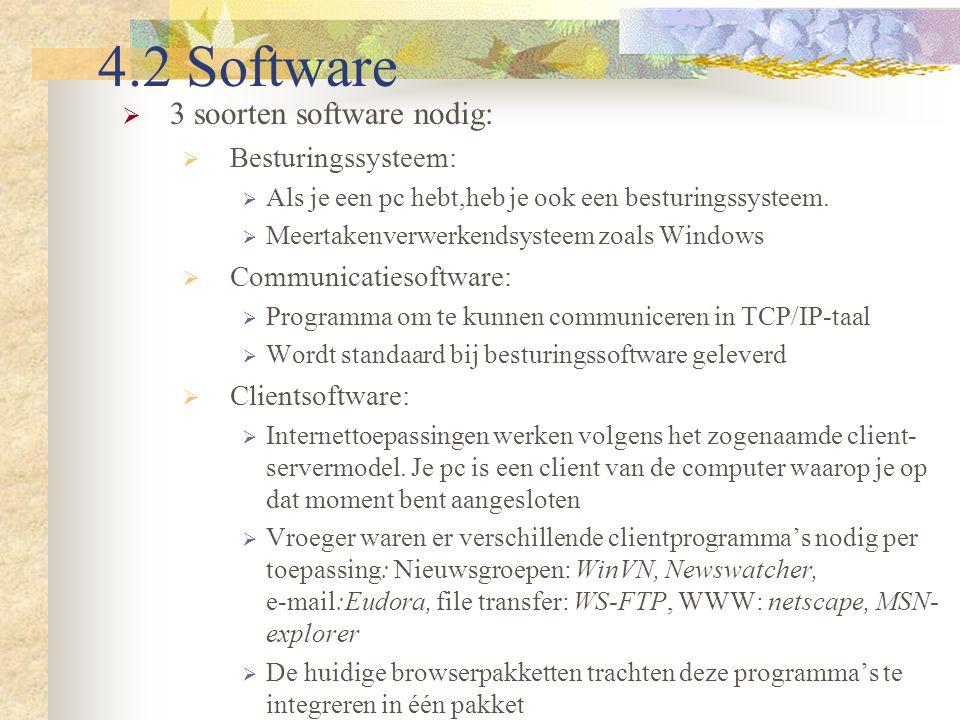 4.2 Software  3 soorten software nodig:  Besturingssysteem:  Als je een pc hebt,heb je ook een besturingssysteem.  Meertakenverwerkendsysteem zoal
