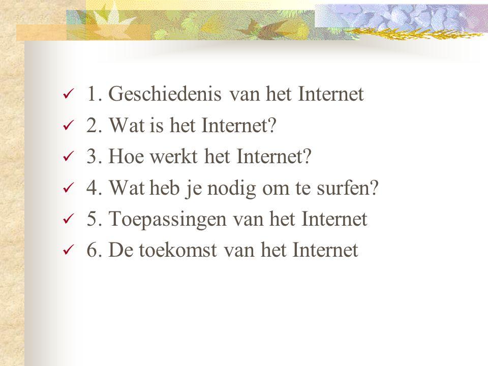  1. Geschiedenis van het Internet  2. Wat is het Internet?  3. Hoe werkt het Internet?  4. Wat heb je nodig om te surfen?  5. Toepassingen van he