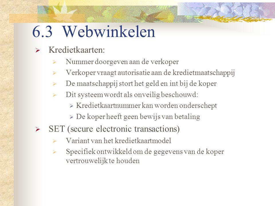 6.3 Webwinkelen  Kredietkaarten:  Nummer doorgeven aan de verkoper  Verkoper vraagt autorisatie aan de kredietmaatschappij  De maatschappij stort