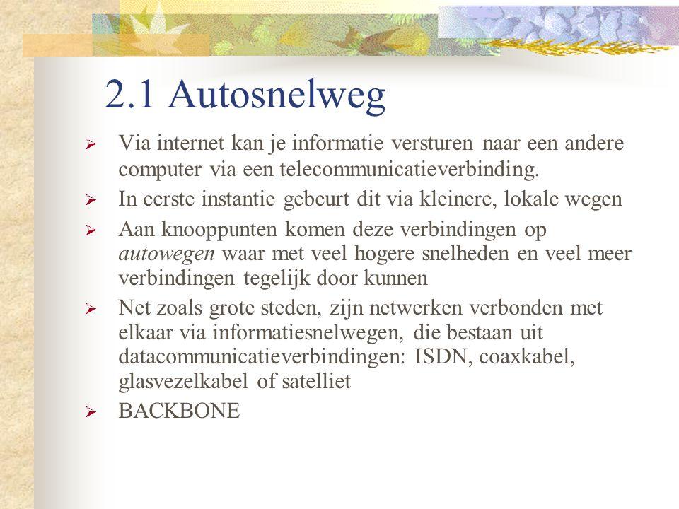 2.1 Autosnelweg  Via internet kan je informatie versturen naar een andere computer via een telecommunicatieverbinding.  In eerste instantie gebeurt