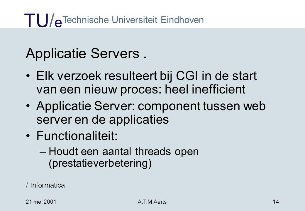 TU/ e Technische Universiteit Eindhoven / Informatica 21 mei 2001A.T.M.Aerts14 Applicatie Servers.
