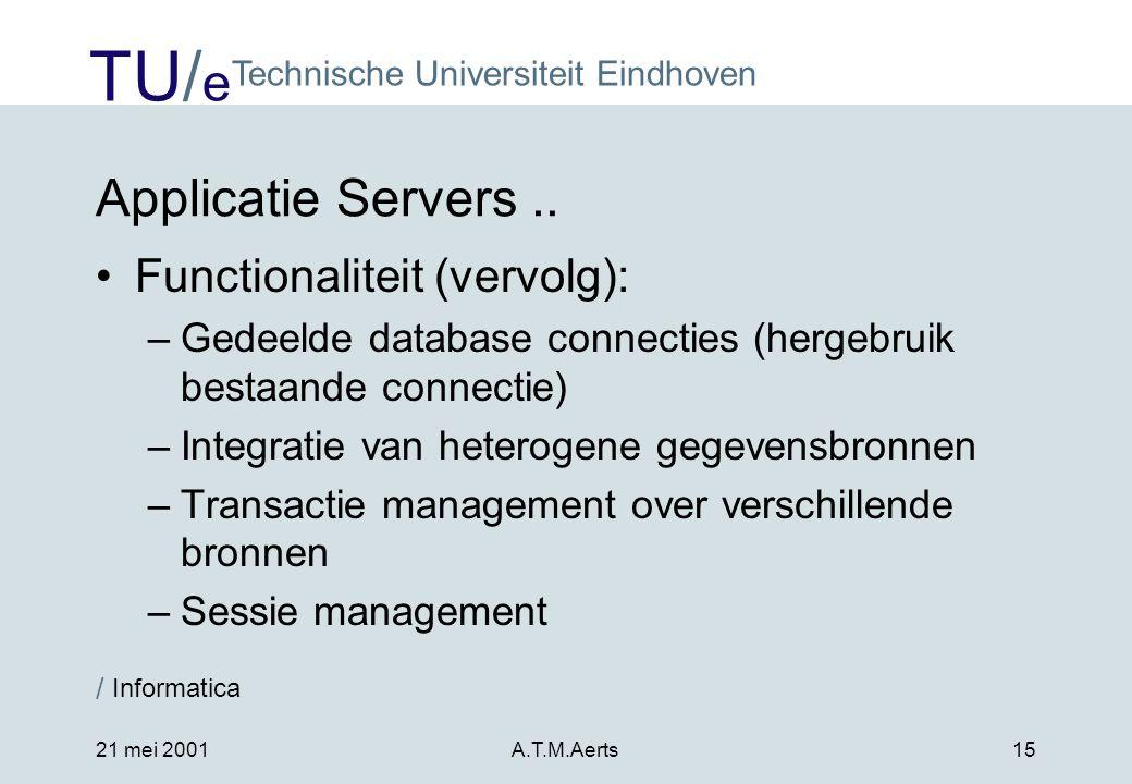 TU/ e Technische Universiteit Eindhoven / Informatica 21 mei 2001A.T.M.Aerts15 Applicatie Servers..