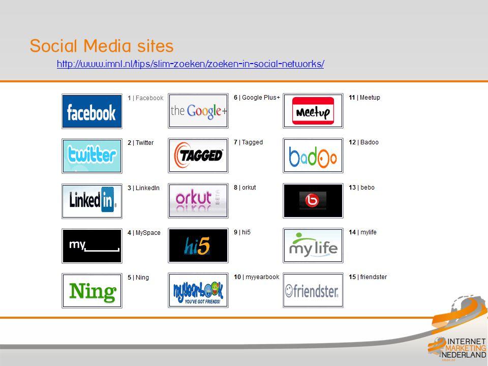 http://www.imnl.nl/tips/slim-zoeken/zoeken-in-social-networks/ Social Media sites