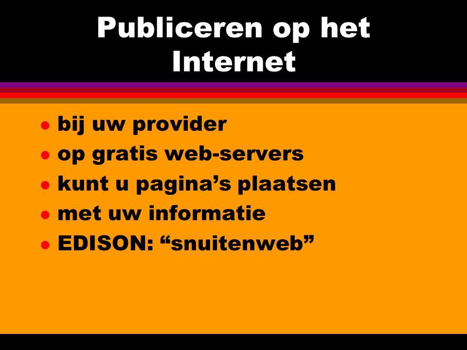 Publiceren op het Internet l bij uw provider l op gratis web-servers l kunt u pagina's plaatsen l met uw informatie l EDISON: snuitenweb