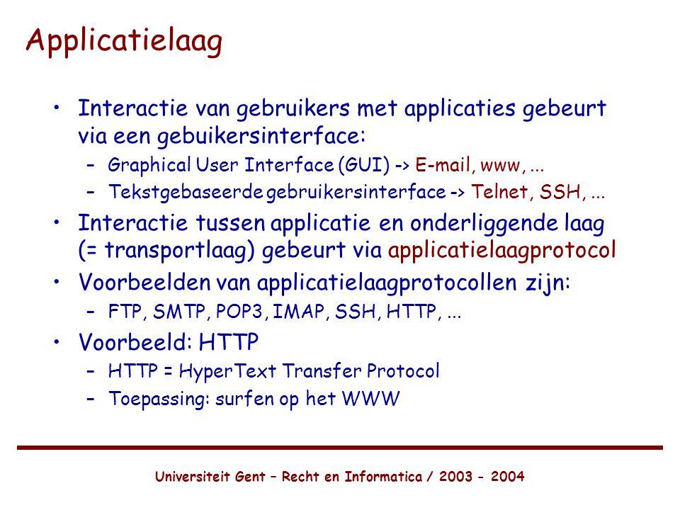 Universiteit Gent – Recht en Informatica / 2003 - 2004 Applicatielaag •Interactie van gebruikers met applicaties gebeurt via een gebuikersinterface: –Graphical User Interface (GUI) -> E-mail, www,...