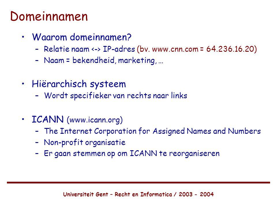 Universiteit Gent – Recht en Informatica / 2003 - 2004 Domeinnamen •Waarom domeinnamen.
