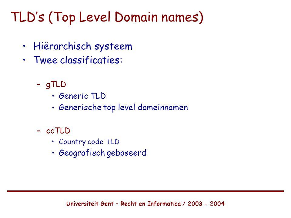 Universiteit Gent – Recht en Informatica / 2003 - 2004 •Hiërarchisch systeem •Twee classificaties: –gTLD •Generic TLD •Generische top level domeinnamen –ccTLD •Country code TLD •Geografisch gebaseerd TLD's (Top Level Domain names)