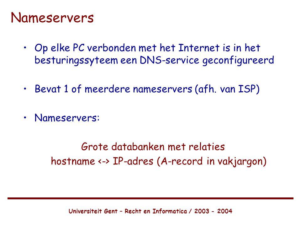 Universiteit Gent – Recht en Informatica / 2003 - 2004 Nameservers •Op elke PC verbonden met het Internet is in het besturingssyteem een DNS-service geconfigureerd •Bevat 1 of meerdere nameservers (afh.