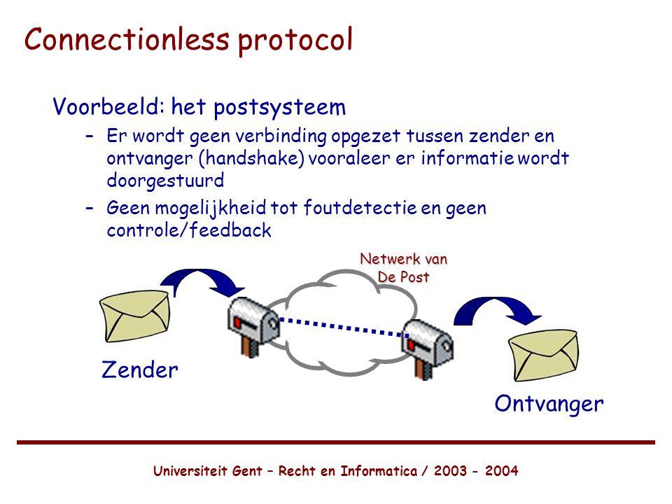 Universiteit Gent – Recht en Informatica / 2003 - 2004 Connectionless protocol Voorbeeld: het postsysteem –Er wordt geen verbinding opgezet tussen zender en ontvanger (handshake) vooraleer er informatie wordt doorgestuurd –Geen mogelijkheid tot foutdetectie en geen controle/feedback Netwerk van De Post Zender Ontvanger