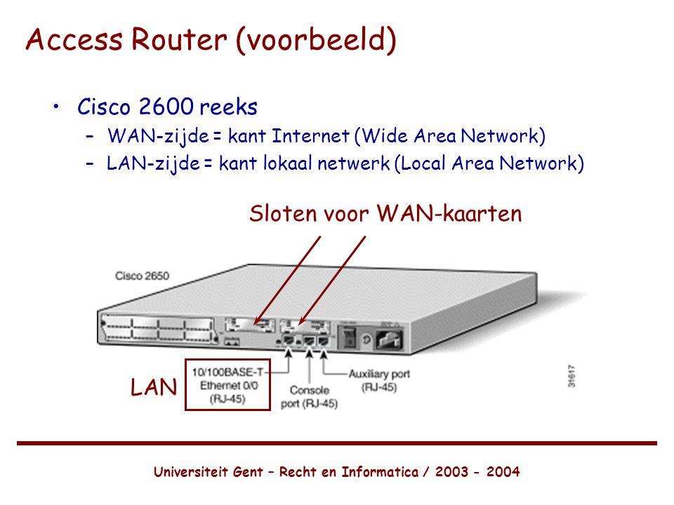 Universiteit Gent – Recht en Informatica / 2003 - 2004 Access Router (voorbeeld) •Cisco 2600 reeks –WAN-zijde = kant Internet (Wide Area Network) –LAN-zijde = kant lokaal netwerk (Local Area Network) LAN Sloten voor WAN-kaarten
