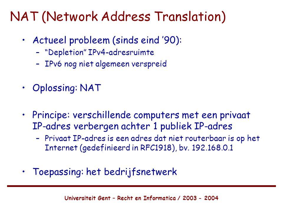 Universiteit Gent – Recht en Informatica / 2003 - 2004 NAT (Network Address Translation) •Actueel probleem (sinds eind '90): – Depletion IPv4-adresruimte –IPv6 nog niet algemeen verspreid •Oplossing: NAT •Principe: verschillende computers met een privaat IP-adres verbergen achter 1 publiek IP-adres –Privaat IP-adres is een adres dat niet routerbaar is op het Internet (gedefinieerd in RFC1918), bv.
