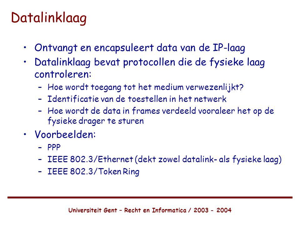 Universiteit Gent – Recht en Informatica / 2003 - 2004 Datalinklaag •Ontvangt en encapsuleert data van de IP-laag •Datalinklaag bevat protocollen die de fysieke laag controleren: –Hoe wordt toegang tot het medium verwezenlijkt.