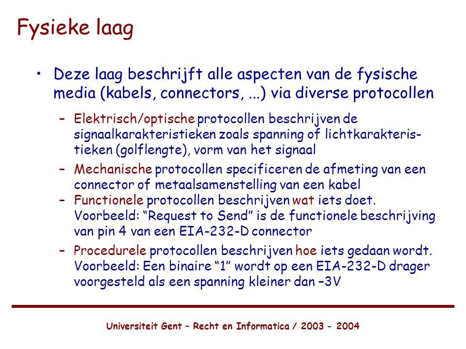 Universiteit Gent – Recht en Informatica / 2003 - 2004 Fysieke laag •Deze laag beschrijft alle aspecten van de fysische media (kabels, connectors,...) via diverse protocollen –Elektrisch/optische protocollen beschrijven de signaalkarakteristieken zoals spanning of lichtkarakteris- tieken (golflengte), vorm van het signaal –Mechanische protocollen specificeren de afmeting van een connector of metaalsamenstelling van een kabel –Functionele protocollen beschrijven wat iets doet.