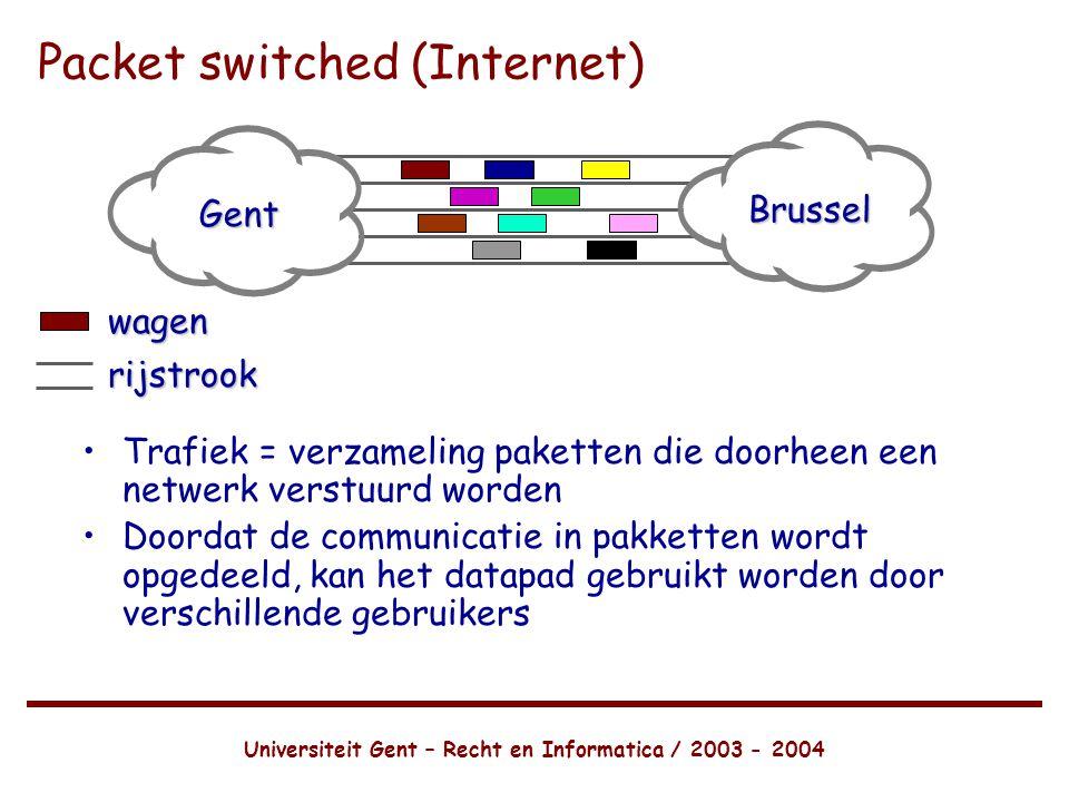 Universiteit Gent – Recht en Informatica / 2003 - 2004 Packet switched (Internet) •Trafiek = verzameling paketten die doorheen een netwerk verstuurd worden •Doordat de communicatie in pakketten wordt opgedeeld, kan het datapad gebruikt worden door verschillende gebruikers Gent Brussel wagenrijstrook