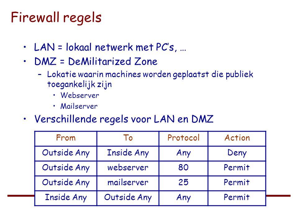 Universiteit Gent – Recht en Informatica / 2003 - 2004 Firewall regels •LAN = lokaal netwerk met PC's, … •DMZ = DeMilitarized Zone –Lokatie waarin machines worden geplaatst die publiek toegankelijk zijn •Webserver •Mailserver •Verschillende regels voor LAN en DMZ FromToProtocolAction Outside AnyInside AnyAnyDeny Outside Anywebserver80Permit Outside Anymailserver25Permit Inside AnyOutside AnyAnyPermit