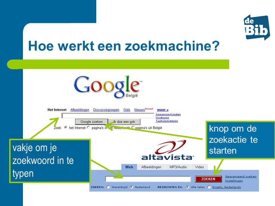 vakje om je zoekwoord in te typen knop om de zoekactie te starten Hoe werkt een zoekmachine?